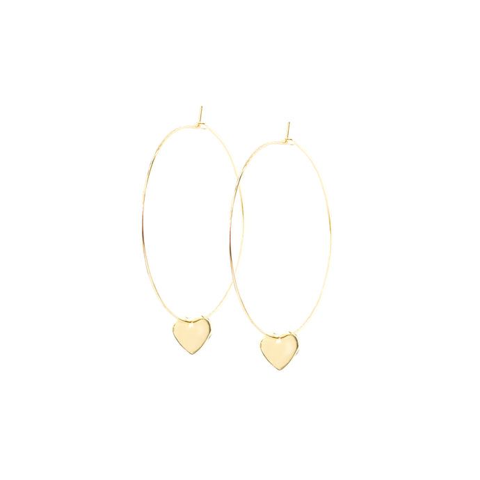 14k gold hoop earrings with heart charms