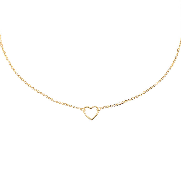 14k gold dainty, Christian necklace with heart charm