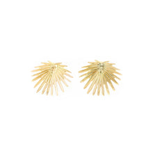 Load image into Gallery viewer, 14k gold palm leaf stud earrings