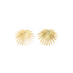 14k gold palm leaf stud earrings