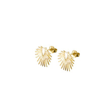 Load image into Gallery viewer, trendy, gold, modern palm leaf stud earrings from the Hosanna Collection