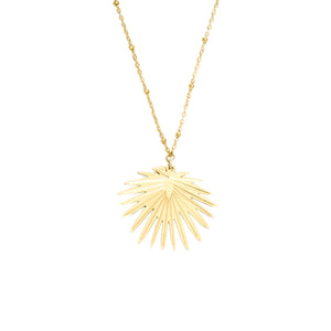 14k gold, vintage looking palm leaf pendant necklace