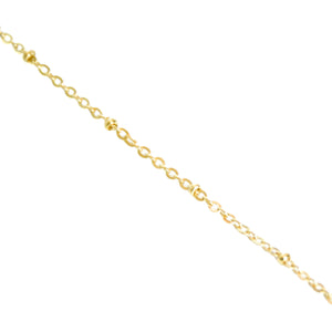 14k gold, palm leaf longer necklace with satellite chain