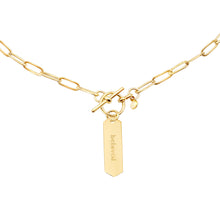 Load image into Gallery viewer, 14k gold chain, faith inspired necklace with Beloved hand stamped on hanging tag with toggle closure