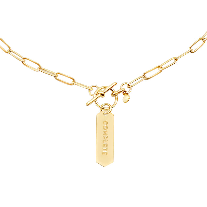 14k gold chain, faith inspired necklace with Complete hand stamped on hanging tag with toggle closure