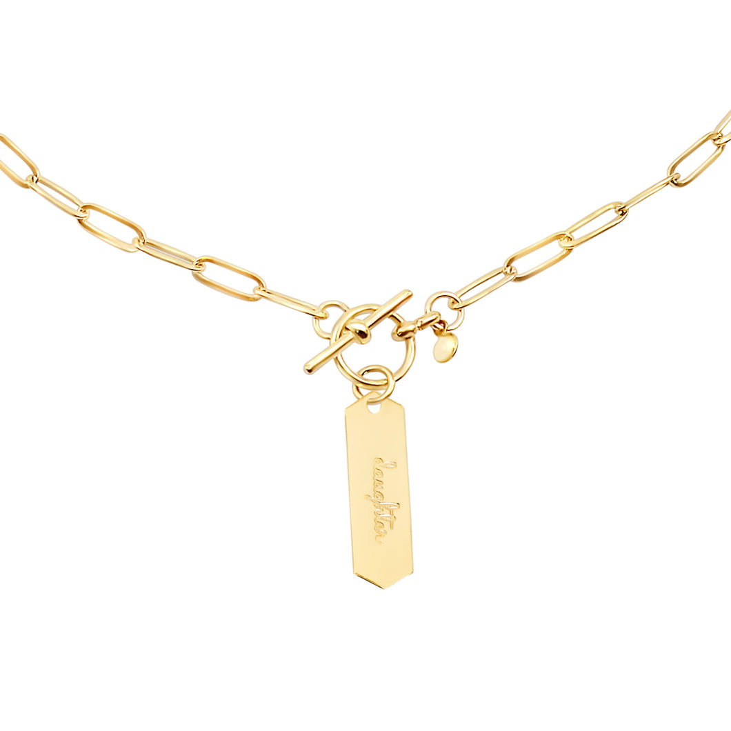 14k gold chain, faith inspired necklace with Daughter hand stamped on hanging tag with toggle closure