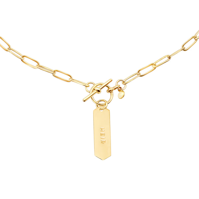 14k gold chain, faith inspired necklace with Heir hand stamped on hanging tag with toggle closure