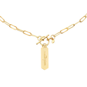 14k gold chain, faith inspired necklace with Masterpiece hand stamped on hanging tag with toggle closure