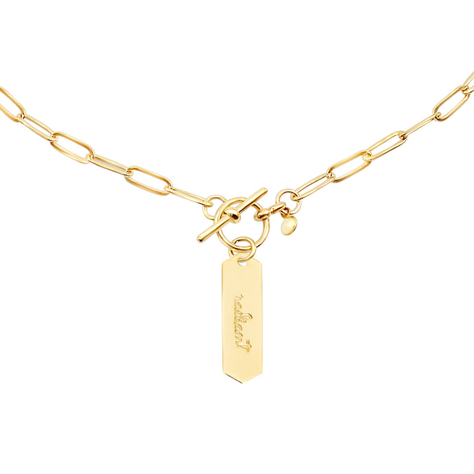 14k gold chain, faith inspired necklace with Radiant hand stamped on hanging tag with toggle closure