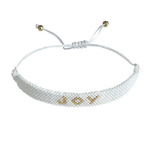 Load image into Gallery viewer, Joy Gold and White beaded adjustable bracelet.