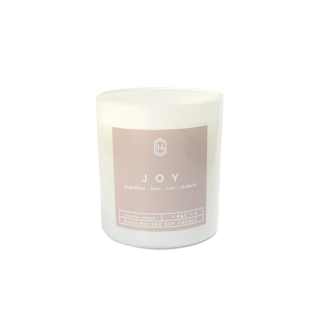 Hand-poured, soy candle, 11 ounce, Joy