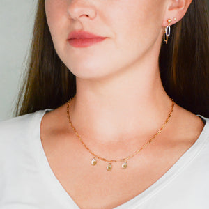 14k gold-plated, dainty, triple disc charm necklace