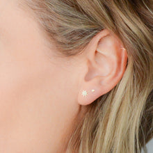 Load image into Gallery viewer, 14k gold-plated, starburst stud earrings