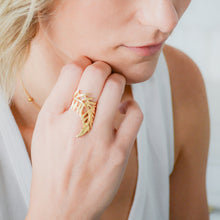 Load image into Gallery viewer, 14k gold-plated, statement, adjustable, leaf ring