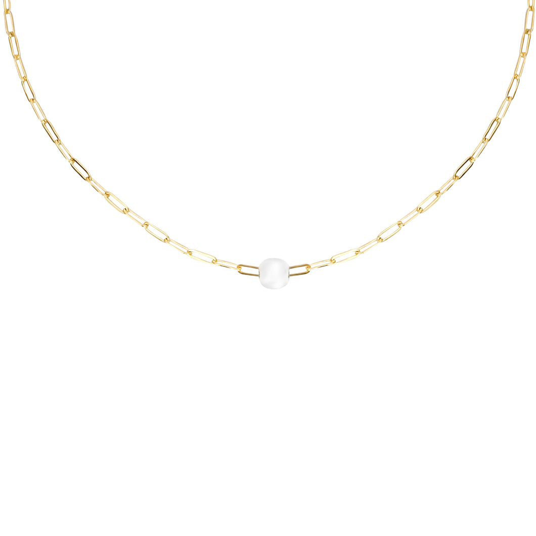 14k gold, faith inspired, dainty chain necklace with fresh water, white pearl