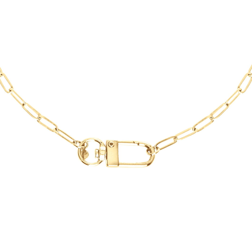 14k gold chain, faith inspired necklace with oversized swivel clasp perfect for layering