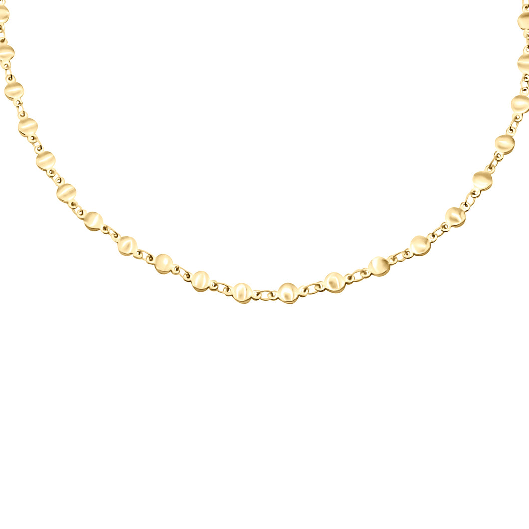 14k gold chain, faith inspired, flat bead necklace with lobster clasp closure