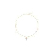 Load image into Gallery viewer, 14k gold, Christian jewelry, beaded cross adjustable necklace