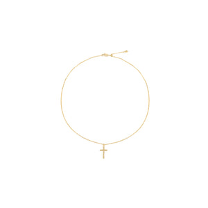 14k gold, Christian jewelry, beaded cross adjustable necklace