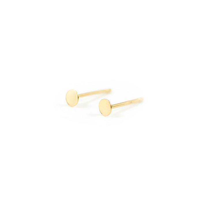 14k gold, faith inspired, 3mm circle stud earrings