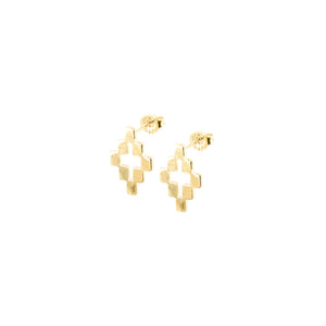 14k gold, Christian, cross stud earrings with cross cut out and southwest style