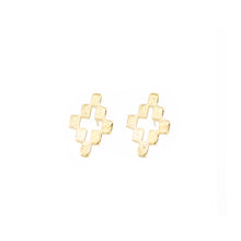 Load image into Gallery viewer, 14k gold, faith inspired, cross stud earrings