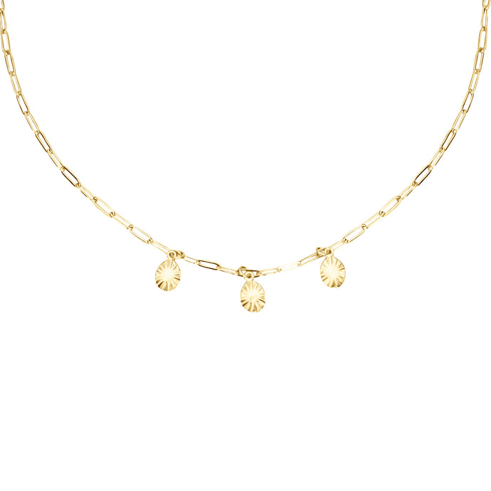 14k gold, faith inspired, dainty layering necklace with disc charms