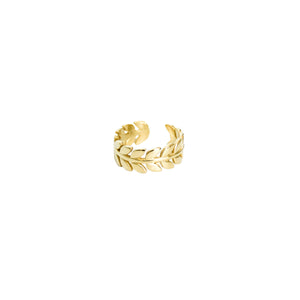 14k gold, faith inspired, leaf adjustable ring