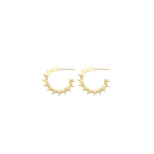 Load image into Gallery viewer, 14k gold, faith inspired, sunburst hoop earrings