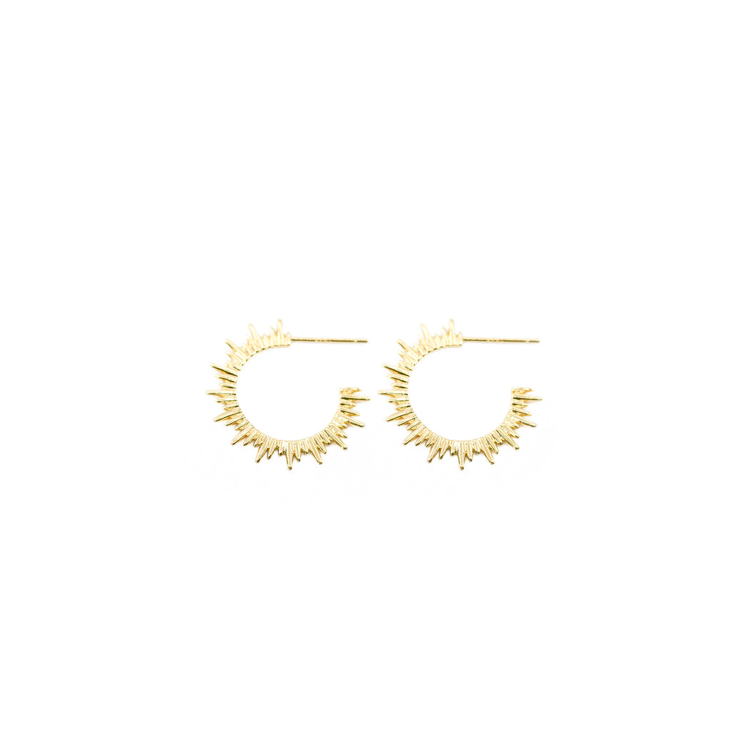 14k gold, faith inspired, sunburst hoop earrings