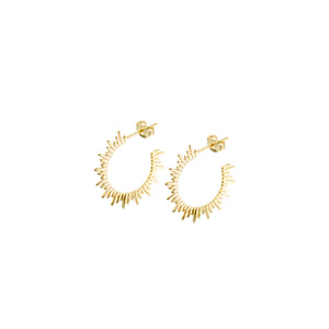14k gold, Christian jewelry, rays of light hoop earrings