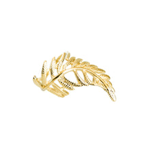 Load image into Gallery viewer, 14k gold, faith inspired, pretty and ornate leaf adjustable ring