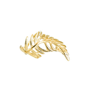 14k gold, faith inspired, pretty and ornate leaf adjustable ring