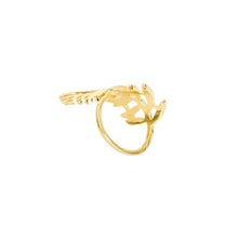 Load image into Gallery viewer, 14k gold, faith inspired, boho style, leaf adjustable ring