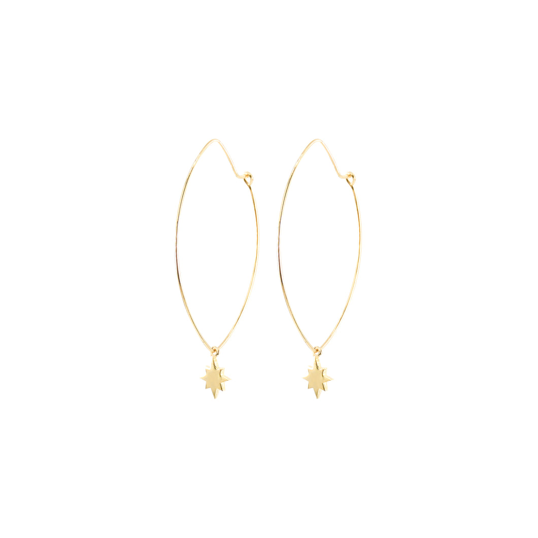 14k gold, faith inspired, oval hoop earrings with star dangling charms