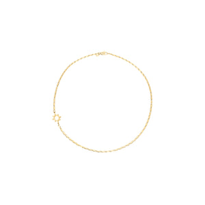 14k gold, Christian, shiny flat chain necklace with star accent perfect for layering with other necklaces