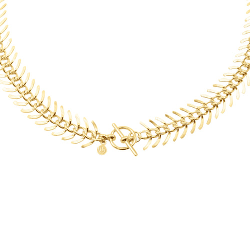 14k gold, faith inspired, fish-bone chunky chain perfect for layering