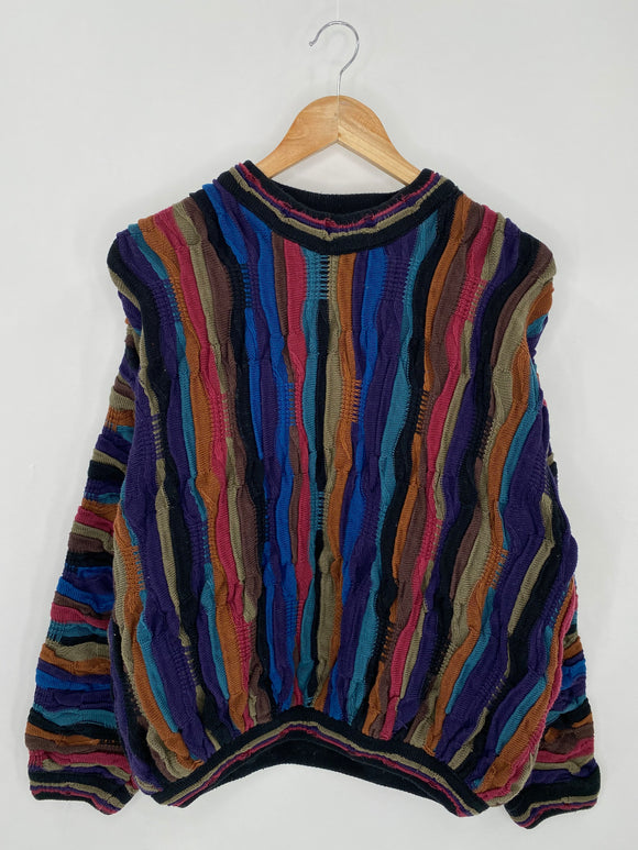 Vintage 3D Coogi-Style Size M Knit Sweater / 6315