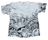 90's Coral Reef All Over Print Made in USA Vintage T-Shirt / 2001