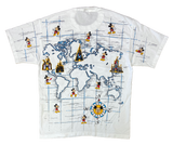 90's Vintage Disney Parks World Map All Over Print Made in USA T-Shirts / 2102