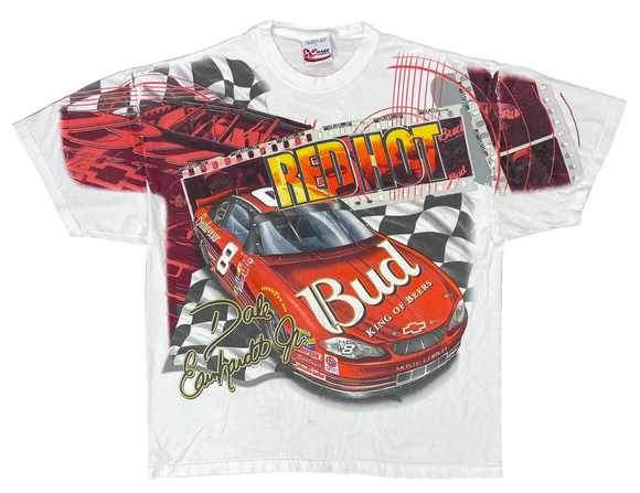 90's Dale Earnhardt Jr. Bud King of Beers NASCAR Racing Vintage T-Shirt / 3137