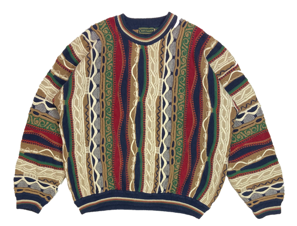 Vintage 3D Coogi-Style Knit Sweater / 3779