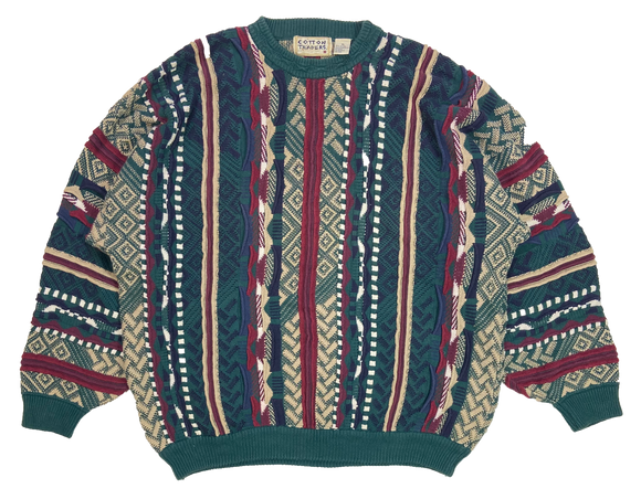 Vintage 3D Coogi-Style Knit Sweater / 3843