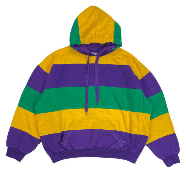 90's Multi Color Striped Ladies Hoodie Vintage Sweat-Shirt / 3860
