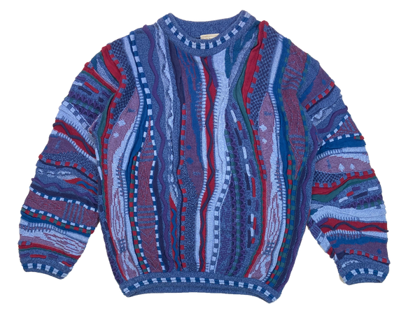 Vintage 3D Coogi-Style Knit Sweater / 3861