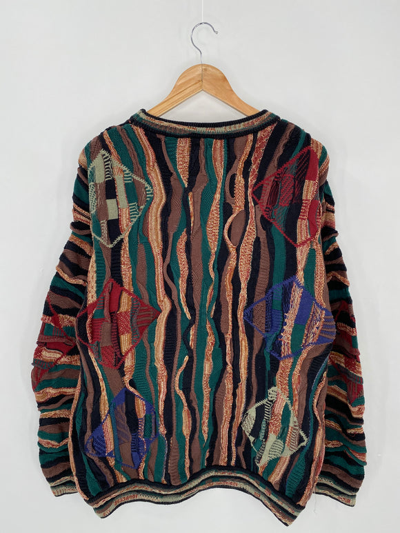 Vintage 3D Coogi-Style Size L Knit Sweater / 6319