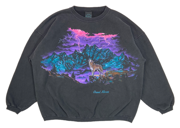 90's Wolves Print Made in USA Sweat-Shirt / 4027
