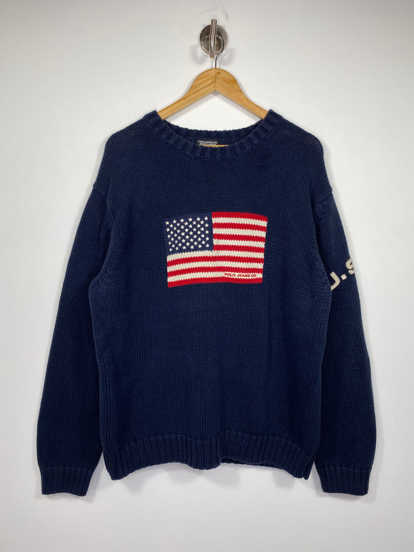 90's Polo Ralph Lauren USA Vintage Knit Sweat-Shirts / 4621