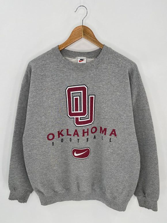 90's NIKE OKLAHOMA FOOTBALL Made in USA Size M Vintage Sweat-Shirt / 6956
