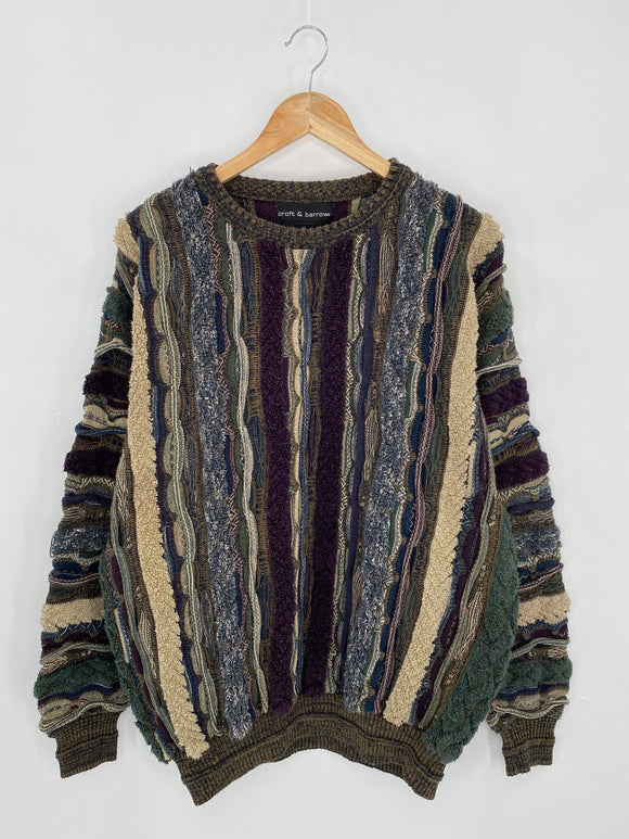 Vintage 3D Coogi-Style Size L Knit Sweater / 6268